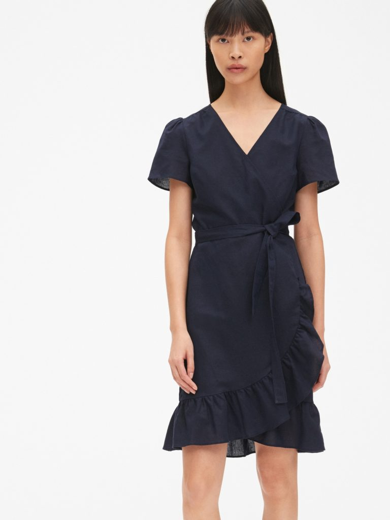 Navy Blue Ruffle Wrap Dress