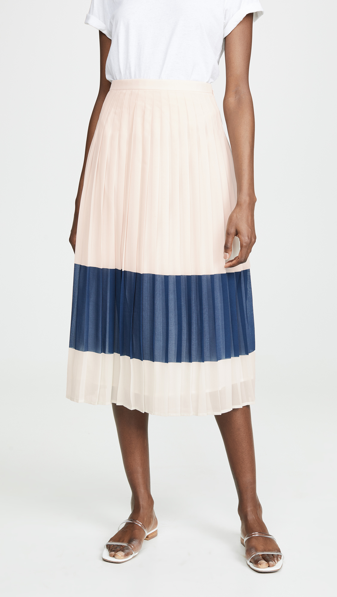 Navy Stripe Pleated Midi Skirt