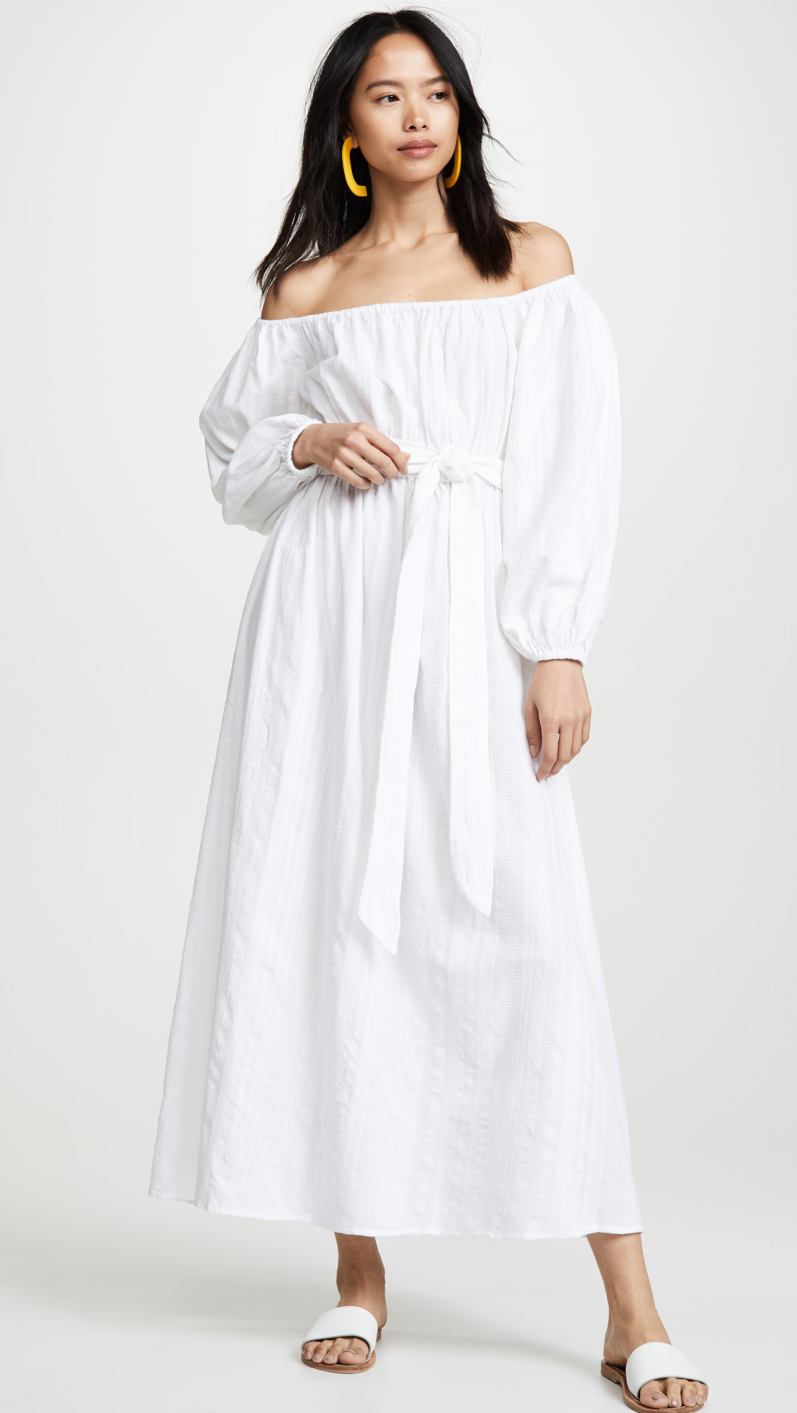 Off-the-Shoulder White Maxi Dress Tie Waist