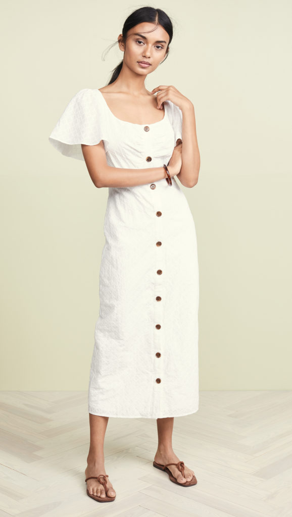 White Midi Dress Button Up