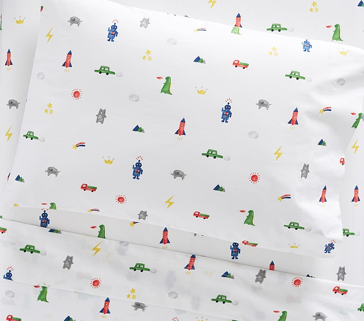 Organic Preston Toddler Sheet Set Boys Cars Dragons Rockets Elephants