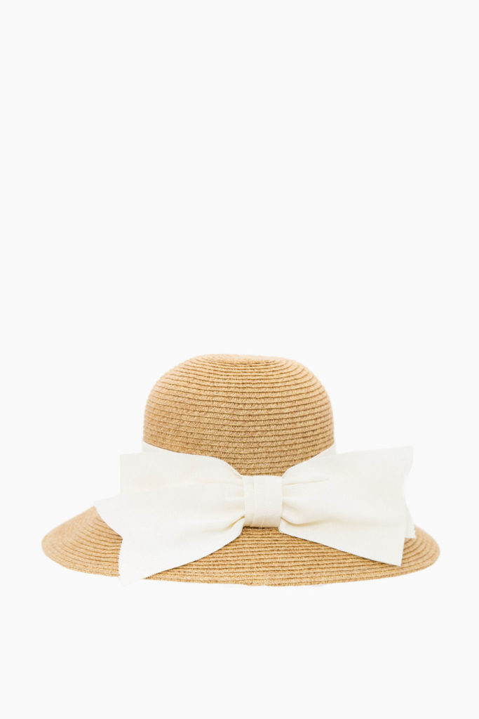 Packable Straw Sunhat with Grosgrain Bow Wide Brim
