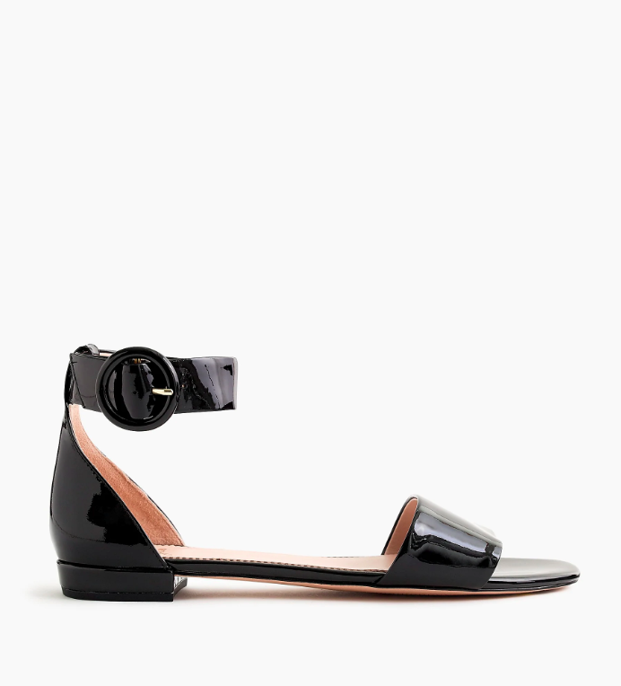 Patent Leather Ankle Strap Flat Sandals