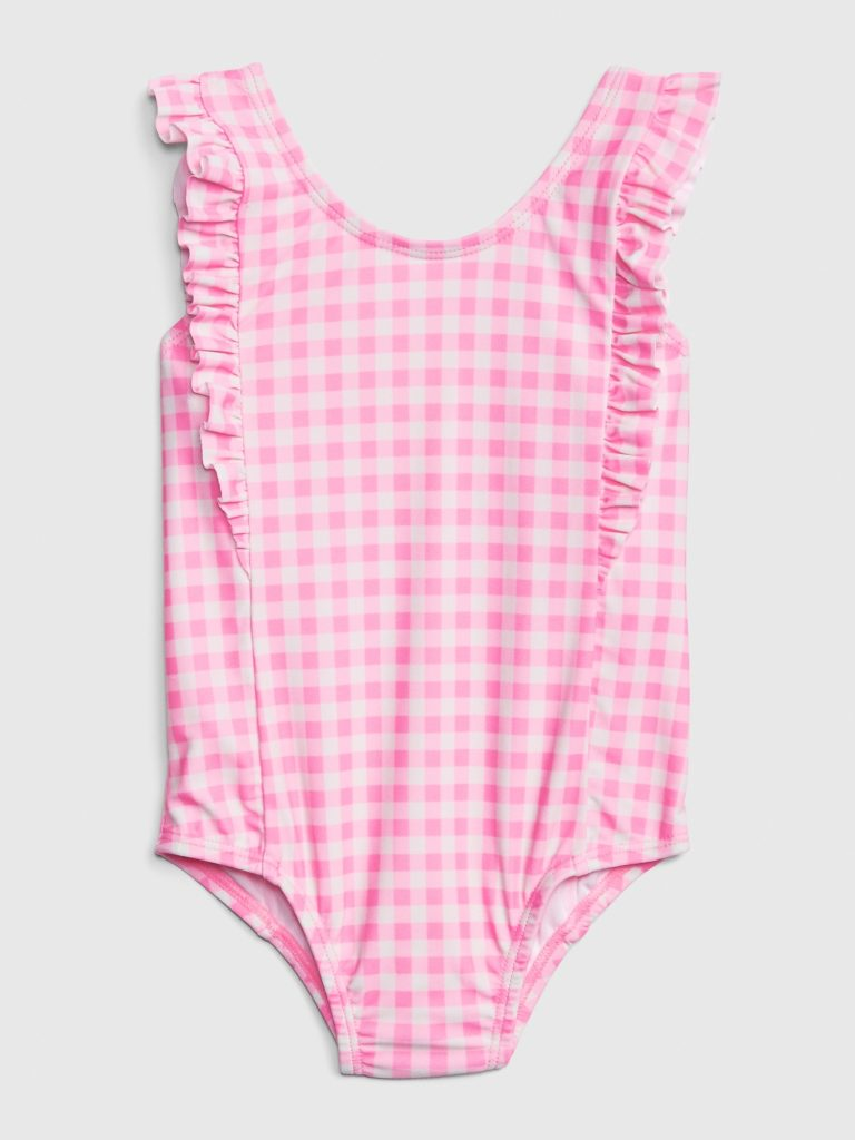 Pink Gingham Ruffle One-Piece Swimsuit Toddler Girls'