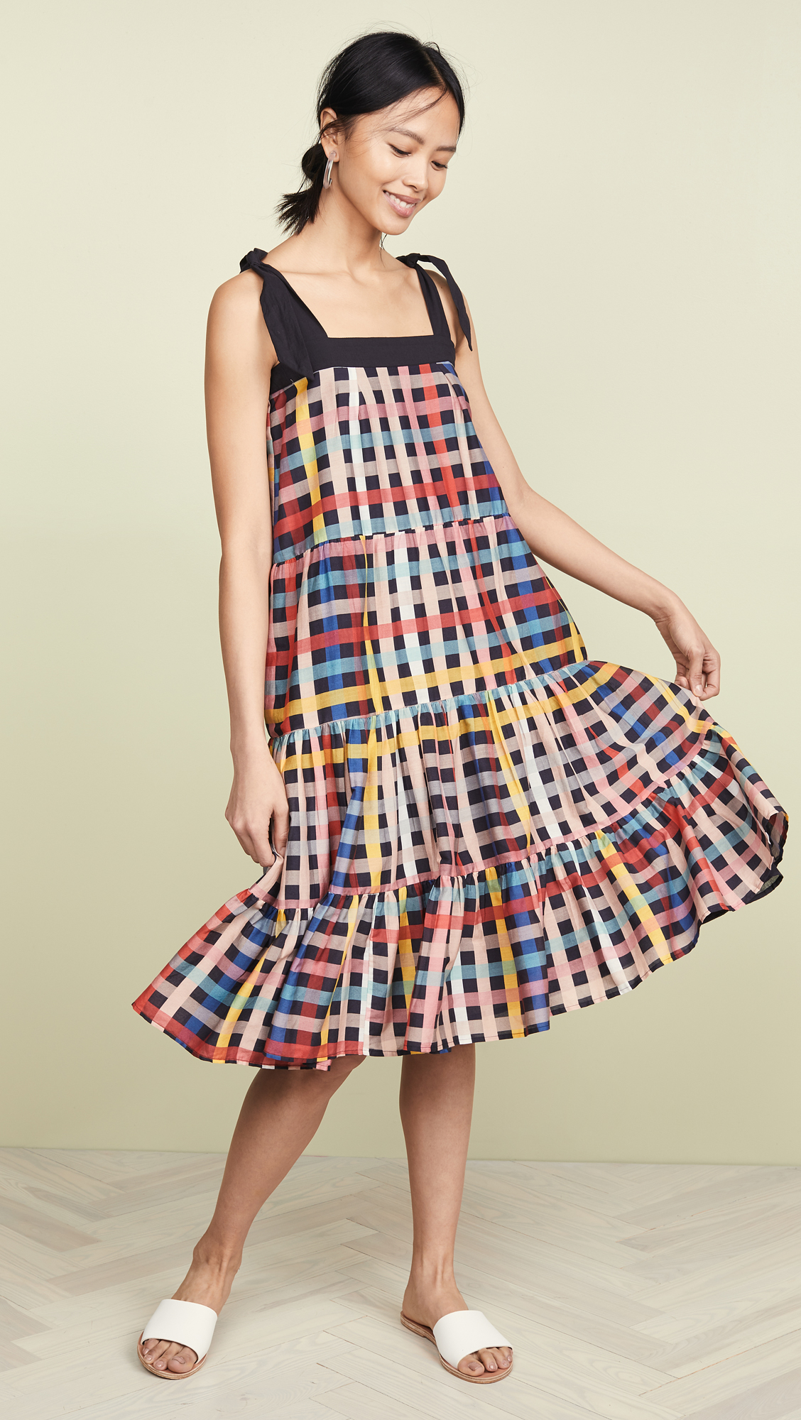 Plaid Ruffle Tiered Dress