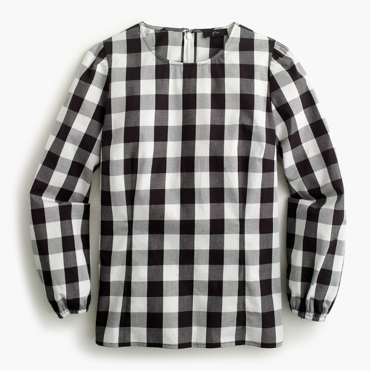 Puff Long Sleeve Gingham Top Black and White