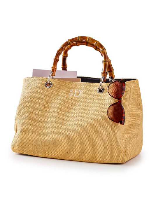 Raffia Handbag with Bamboo Handle