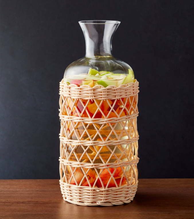 Rattan Wrapped Glass Carafe