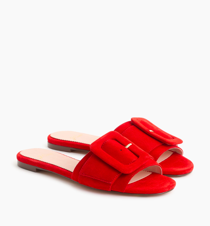 Red Cora Slide Sandals Suede with Buckle