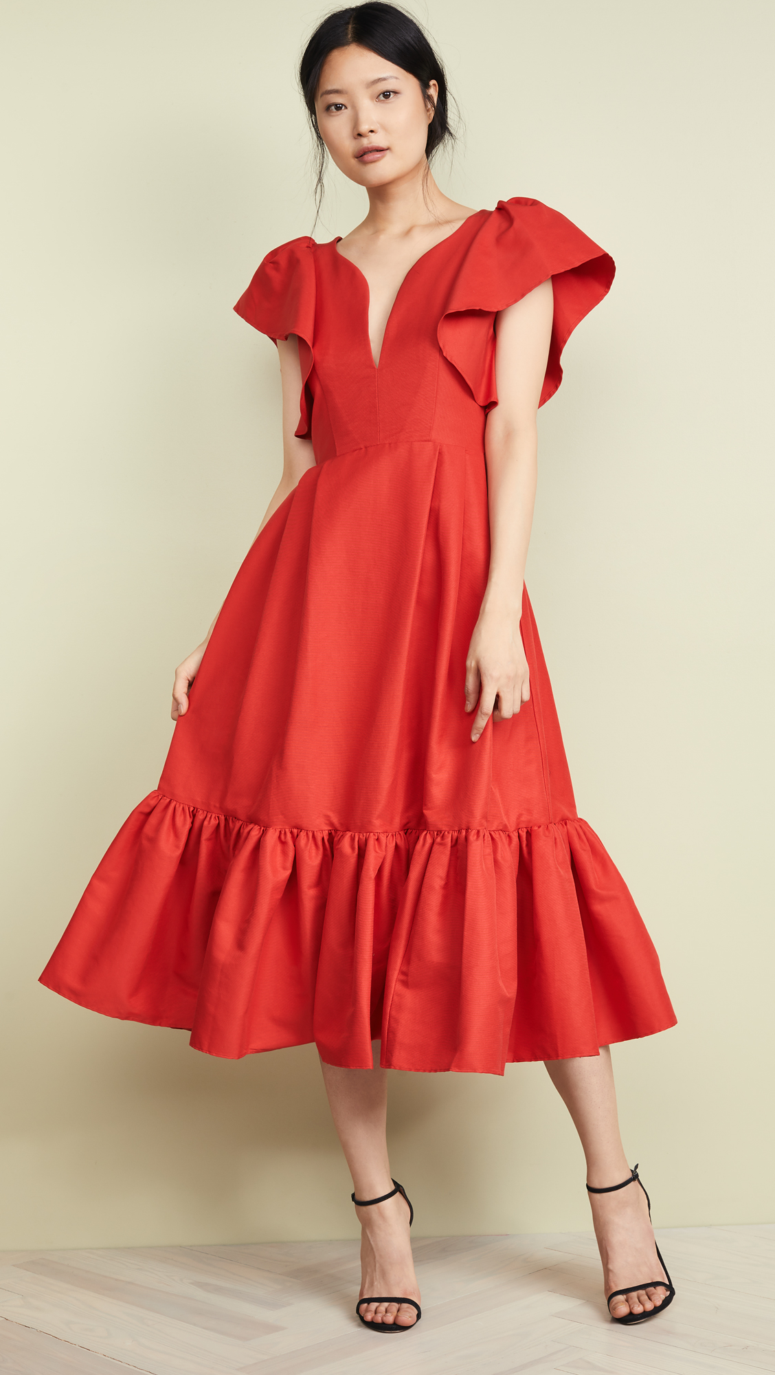 Red Ruffle Faille Dress