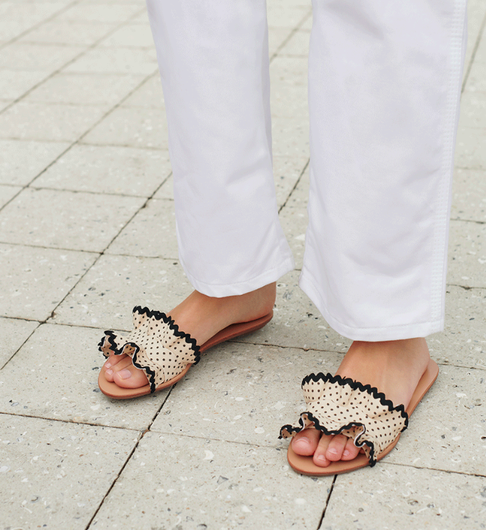 Polka Dot Ruffle Slide Sandal Black and White