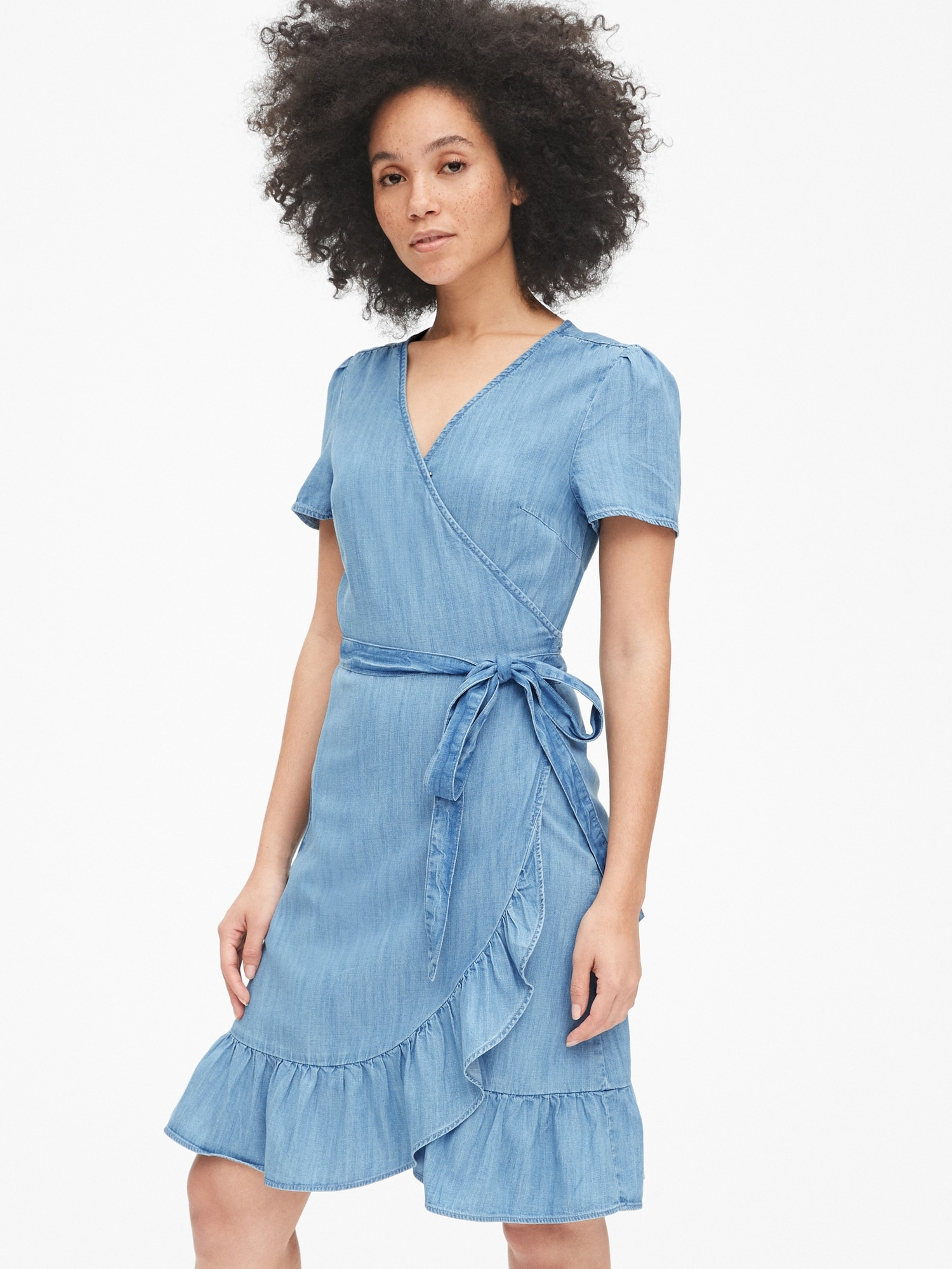 Chambray Ruffle Wrap Dress
