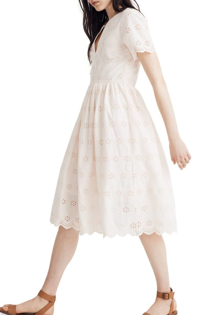 Scallop Eyelet Midi Dress