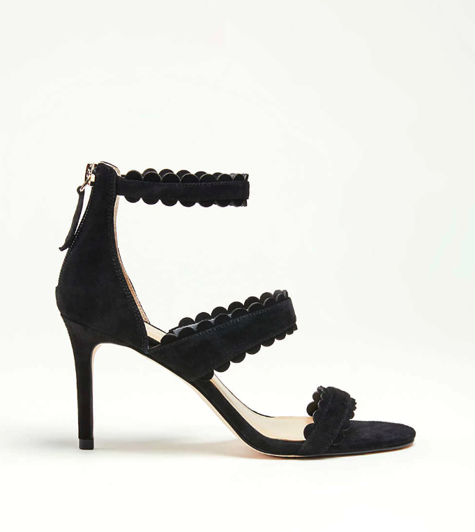 Scalloped Suede Heeled Sandals