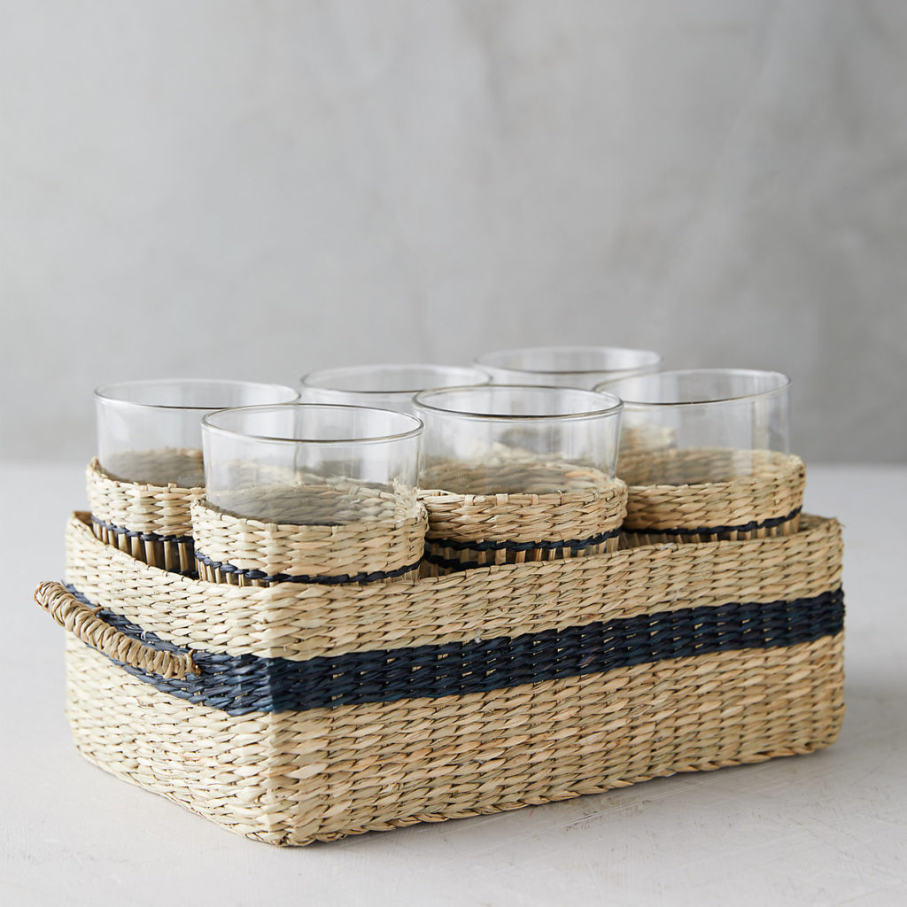 Seagrass Glasses and Caddy