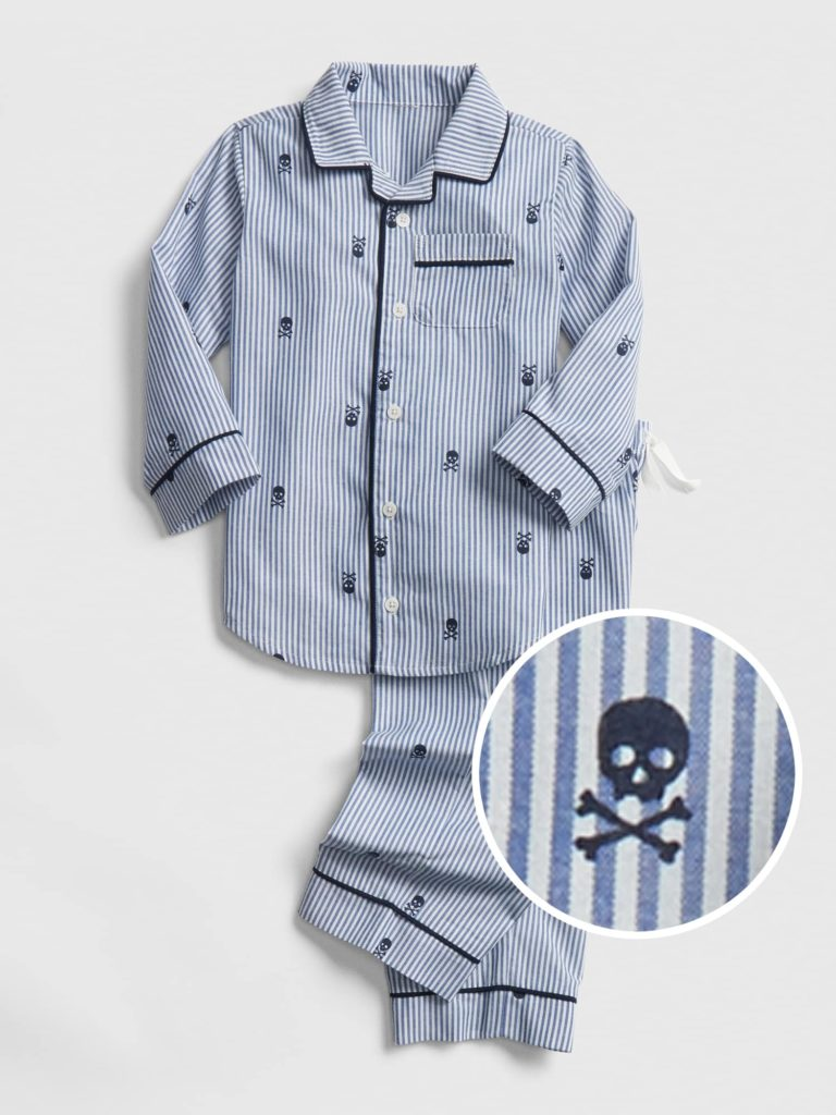 Boys' Skull and Crossbones Pajama Set Stripe Blue and White
