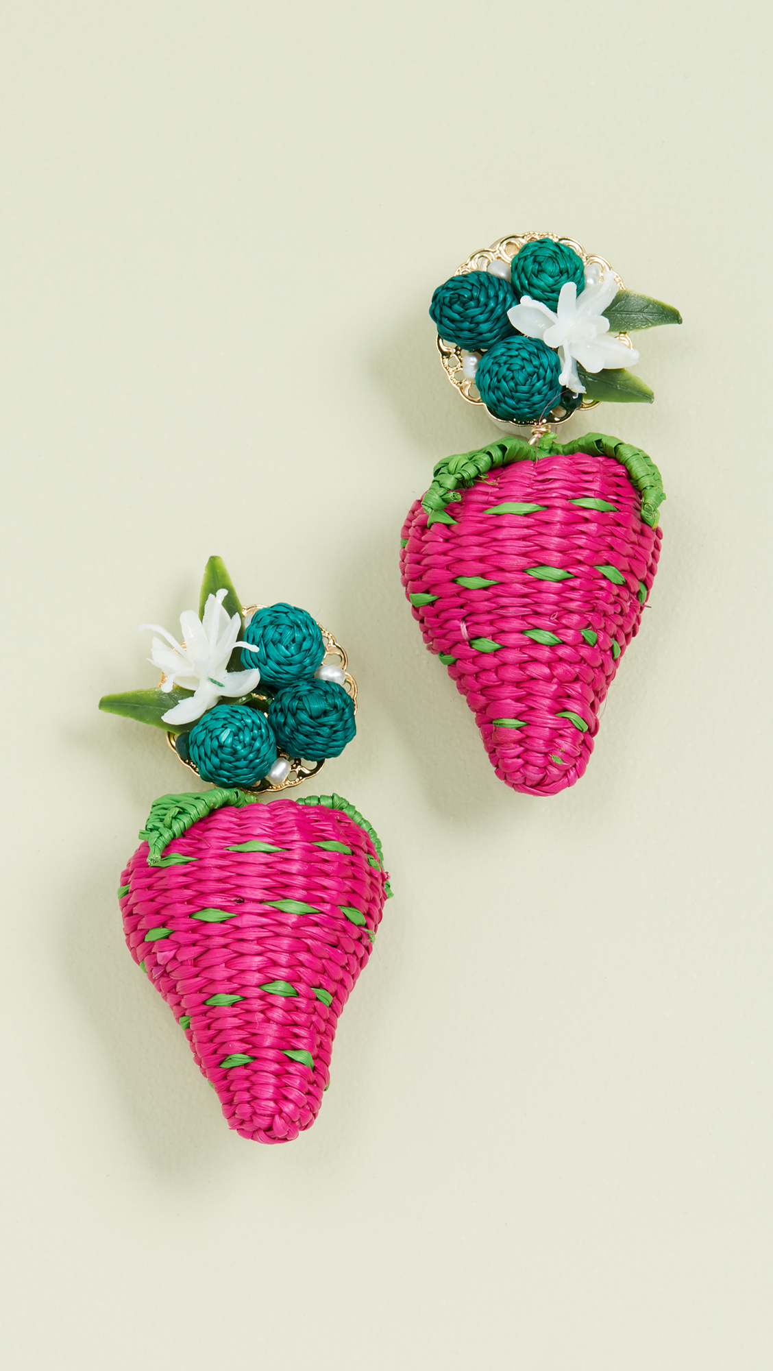 Strawberry Raffia Earrings