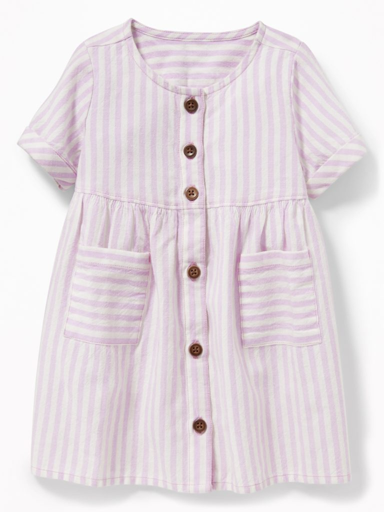 Stripe Button-Front Dress