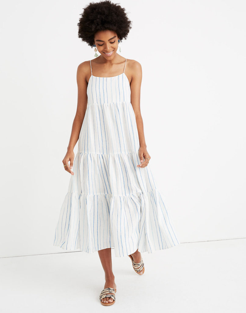 Stripe Cami Tier Midi Dress Blue and White