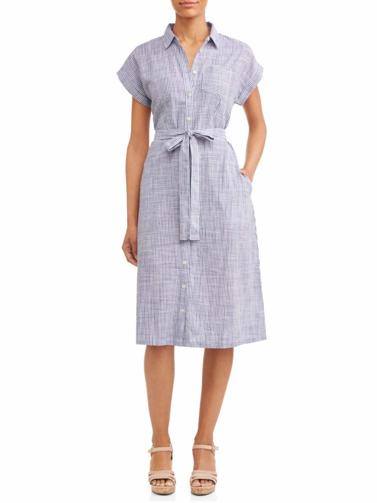 Belted Stripe Midi Shirt Dress