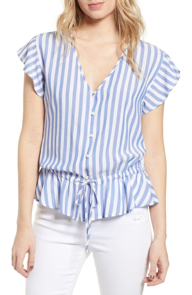 Stripe Ruffle Shirt Blue and White