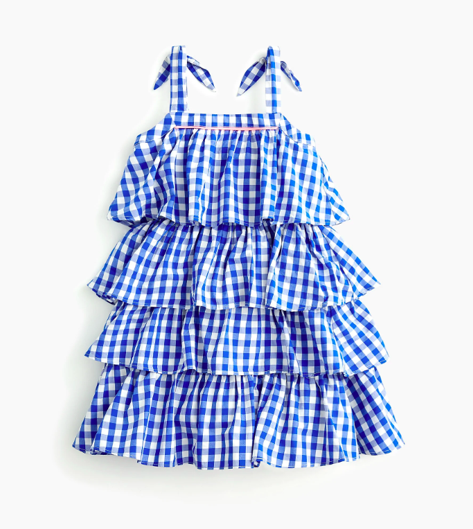 Girls' Tiered Ruffle Gingham Blue and White Dress