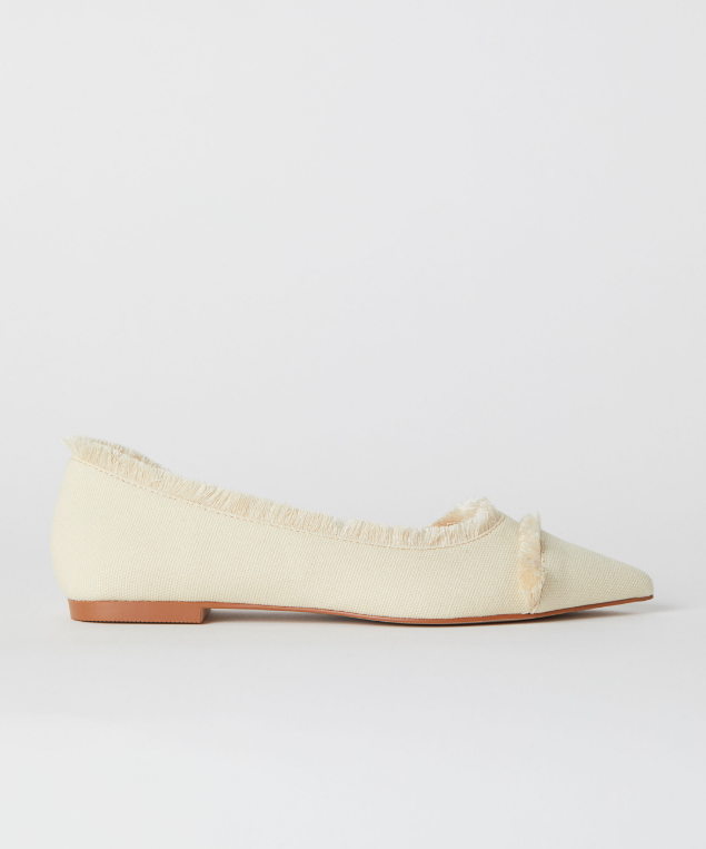 White Fringed Flats