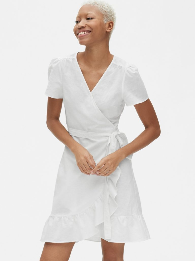 White Ruffle Wrap Dress