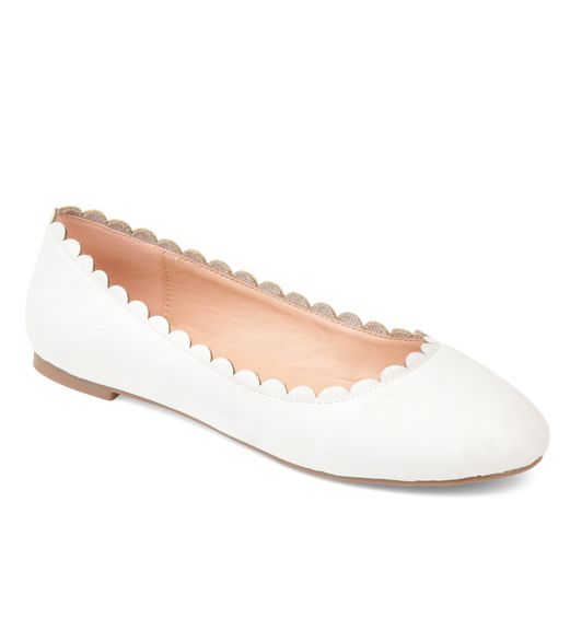 White Scalloped Ballet Flats