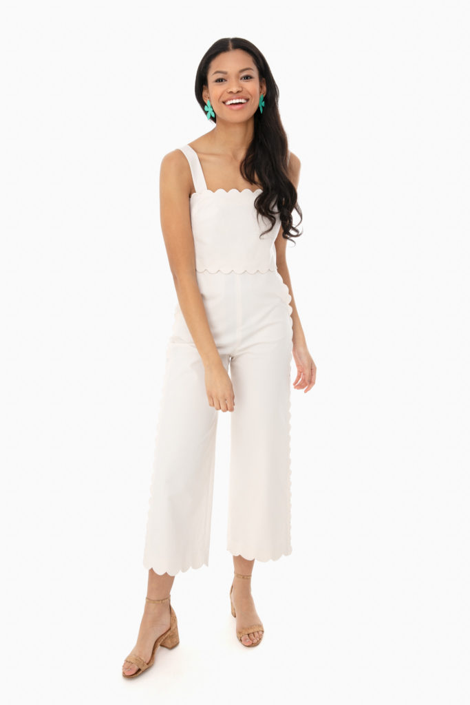 White Scallop Sleeveless Jumpsuit