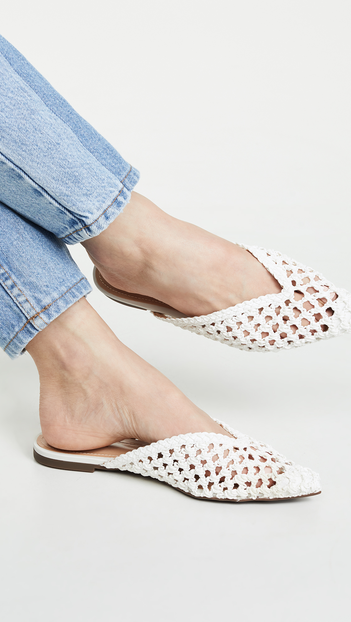 White Woven Point Toe Mules