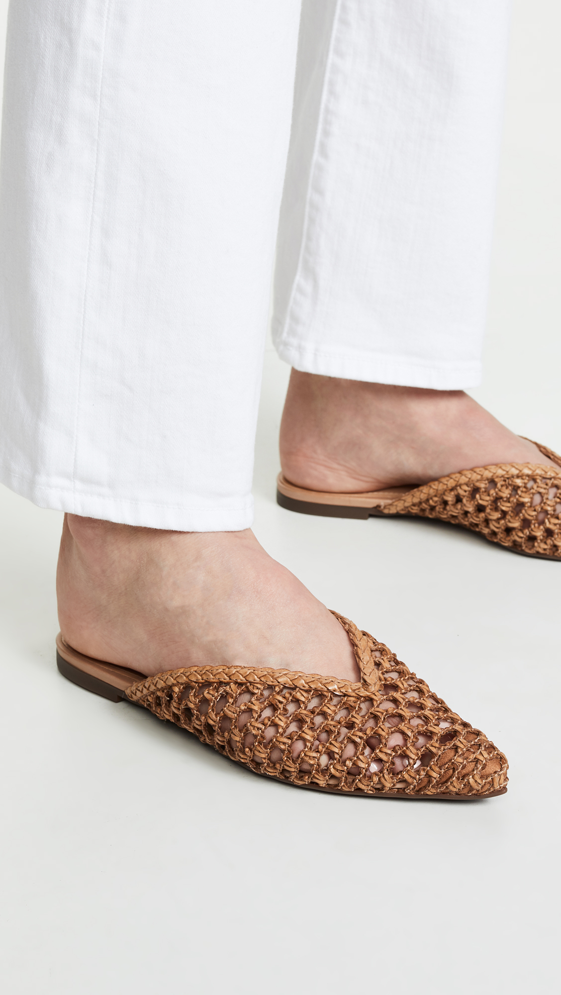 Woven Leather Point Toe Mules