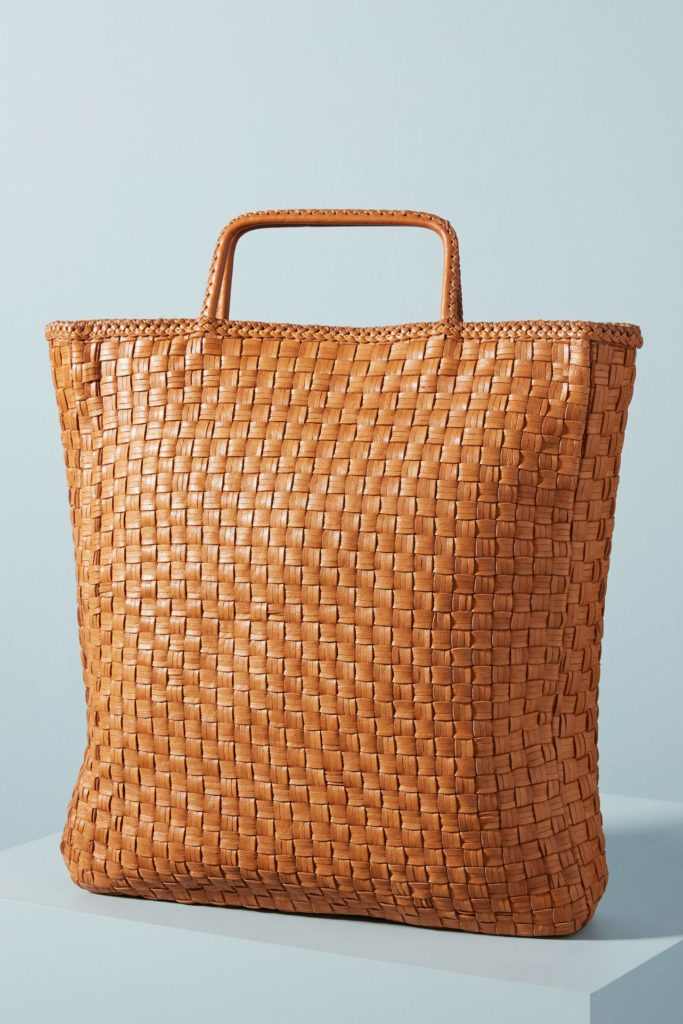 Woven Leather Tote Bag Brown Camel