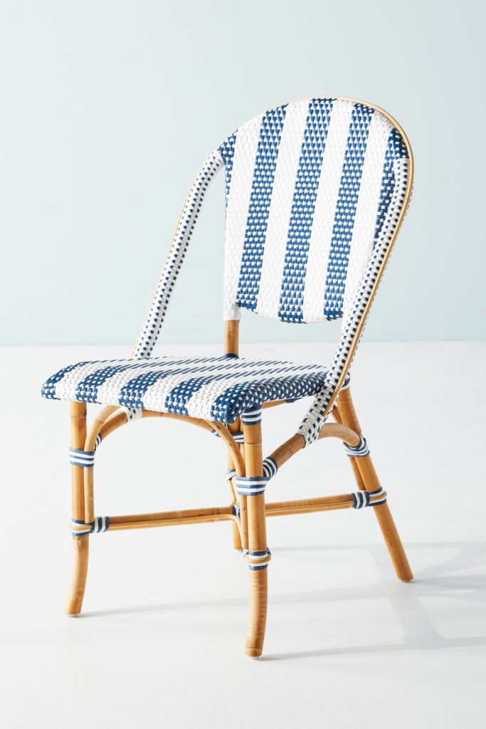 Woven Stripes Blue and White Outdoor Indoor Bistro Chair Weather Resistant