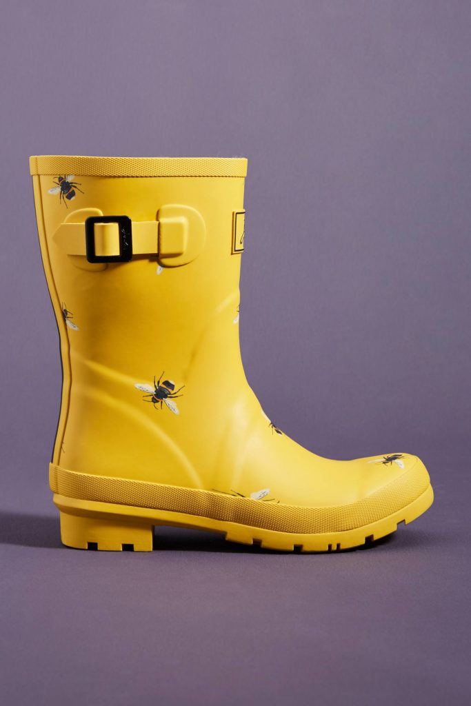 Yellow Bumble Bee Midi Rain Boots Wellies