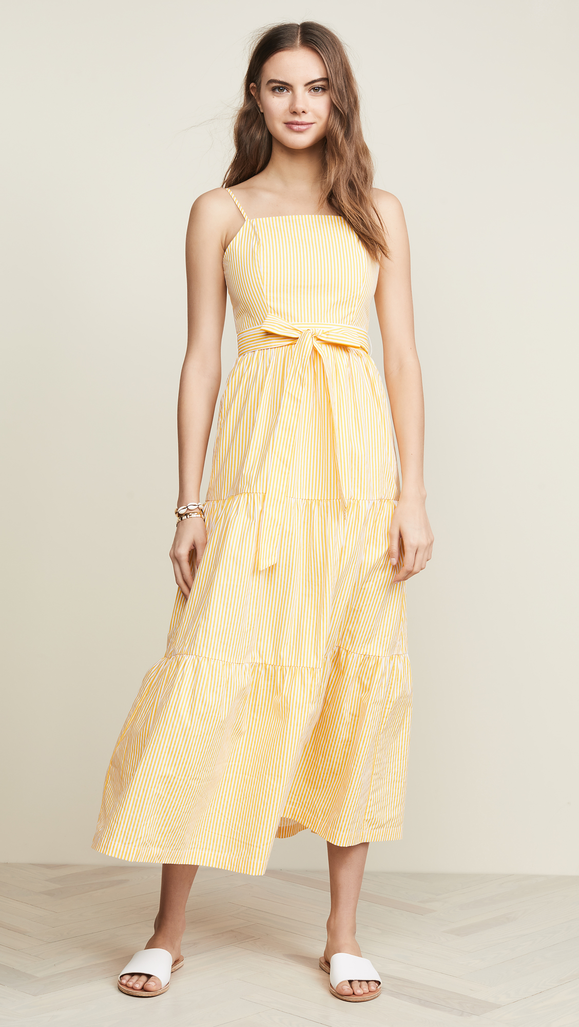 Yellow Poplin Stripe Maxi Dress with Bow