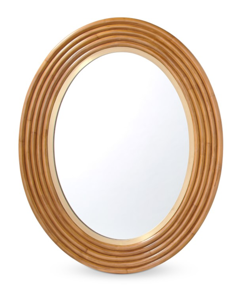 Rattan Brass Wall Mirror