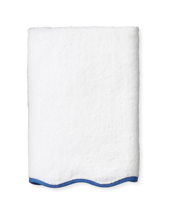 Aerin Scalloped Blue and White Bath Towels