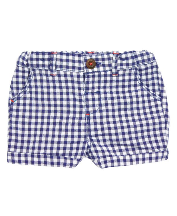 Gingham Baby Boy Shorts Navy Blue