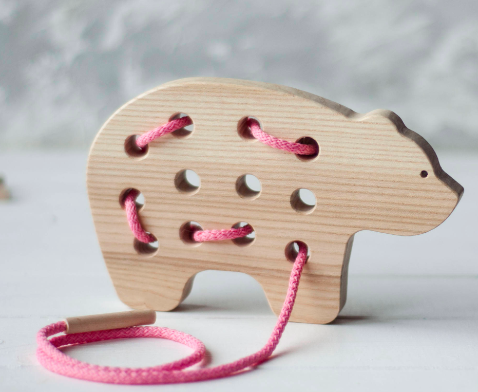 Bear Wooden Lacing Toy Kids Montessori