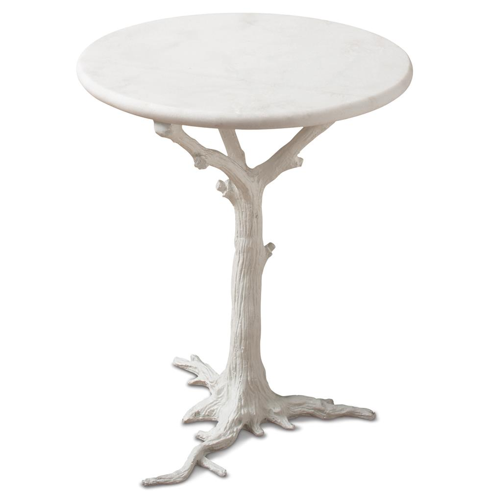 White Tree Branch Side Table