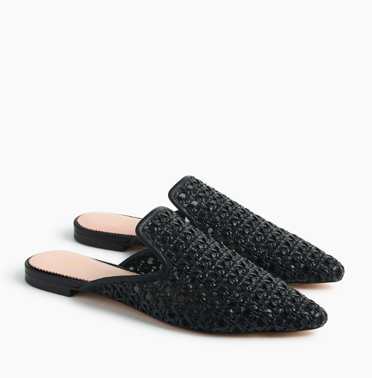 Pointed Toe Woven Slides