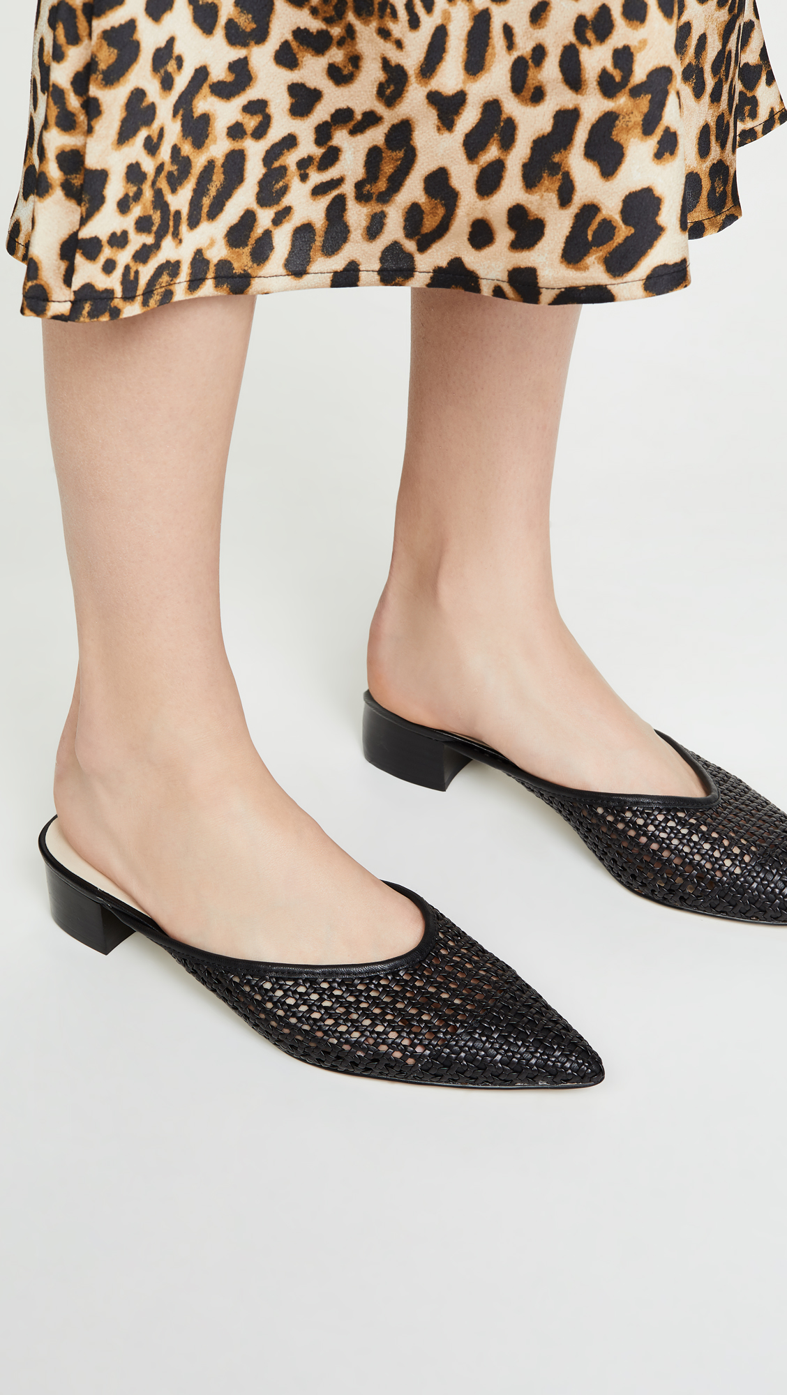 Black Pointed Woven Mules