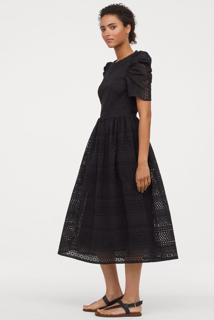 Black Puff-Sleeved Eyelet Dress