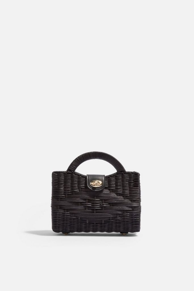 Black Wicker Straw Bag
