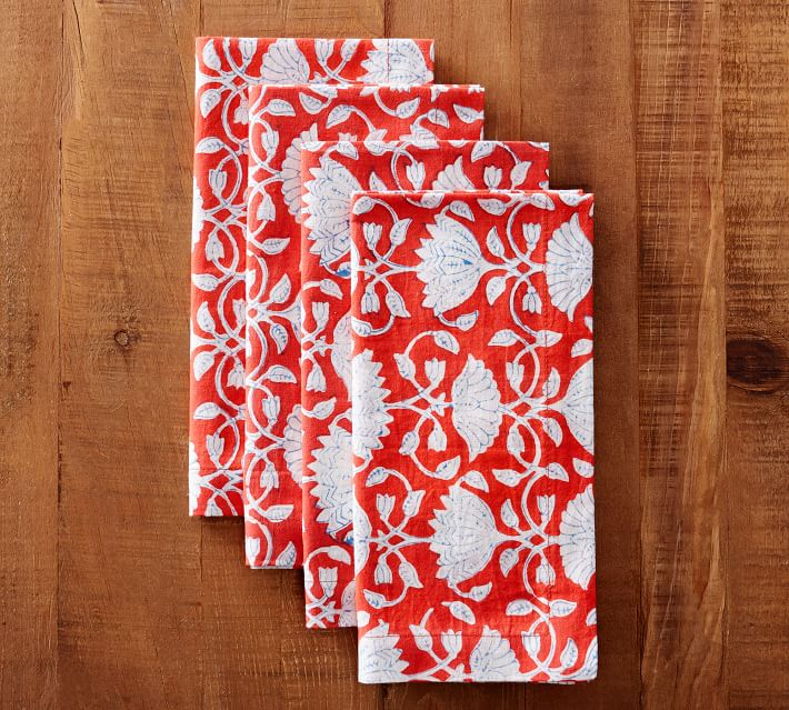 Red Floral Napkins