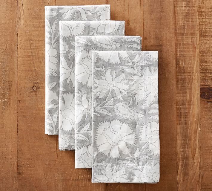 Gray Floral Napkins