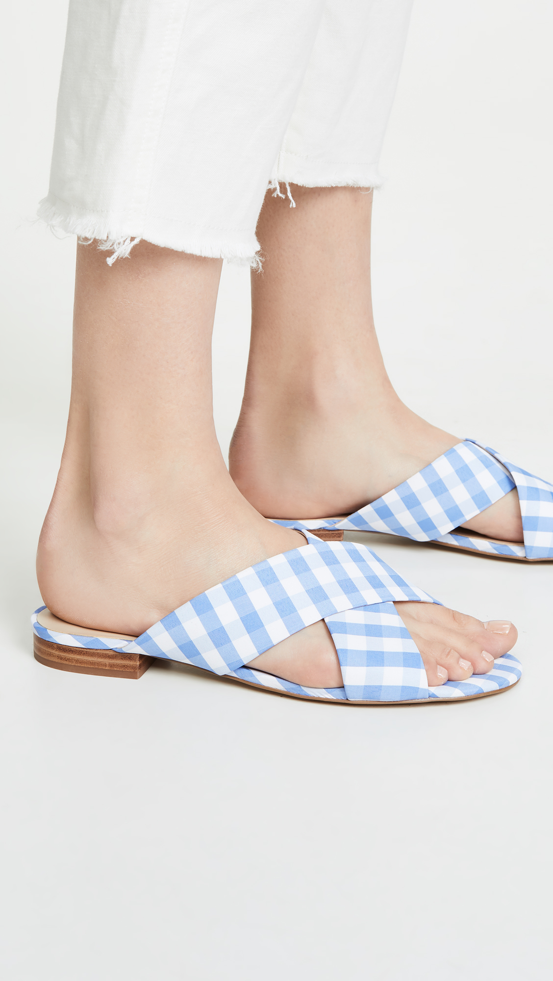 Blue Gingham Crisscross Sandals