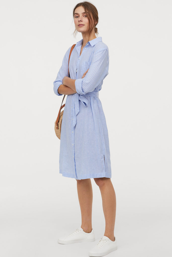 Blue Linen-Blend Stripe Shirt Dress