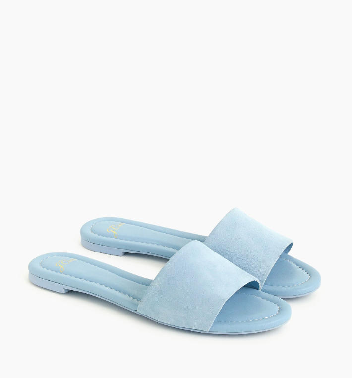 Blue Suede Slide Sandals